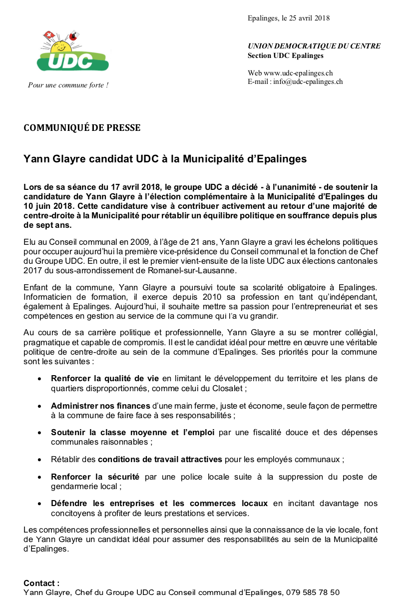 Yann Glayre UDC Epalinges