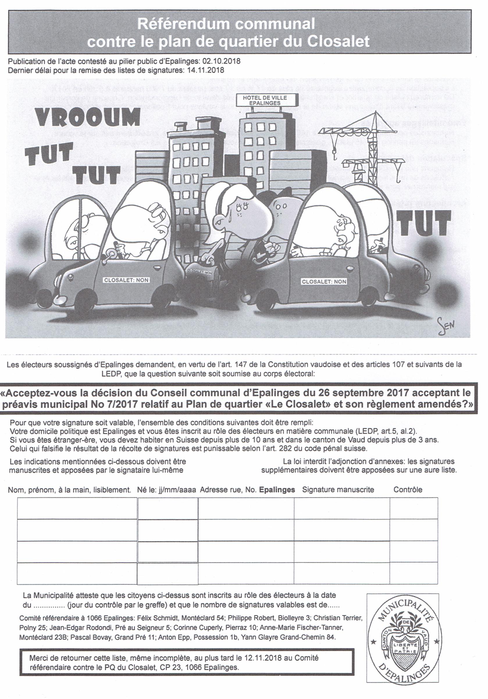 Référendum communal contre le plan de quartier du Closalet